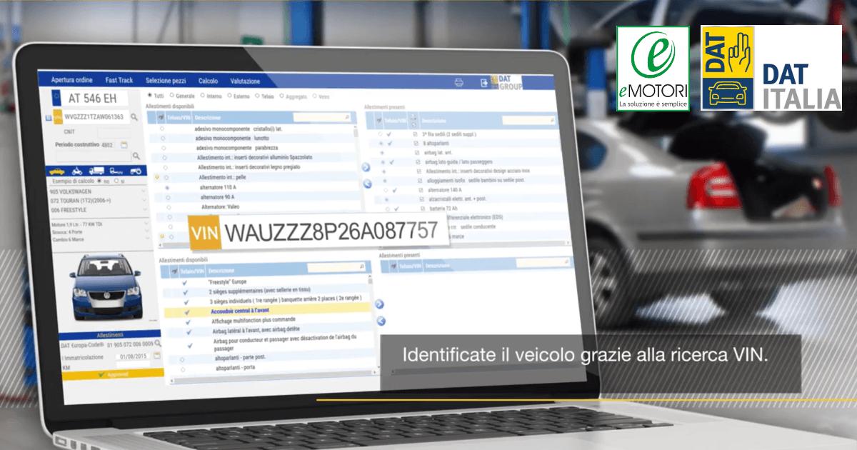 Accordo con DAT ITALIA: ricerca per telaio e esplosi grafici nelle soluzioni eMotori